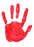 Fototapety Roter Handabdruck isoliert auf weiß