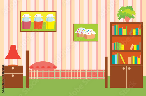 Room of the girl. Interior. vector