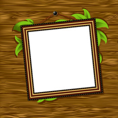 vintage baguette frame with leaves