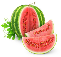 Sliced watermelon isolated on white