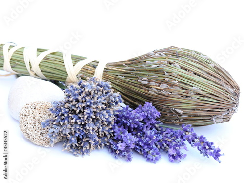 dried flowers of lavender on white background