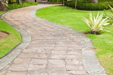 Stone pathway in the garden.