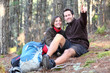 Young happy couple hiking