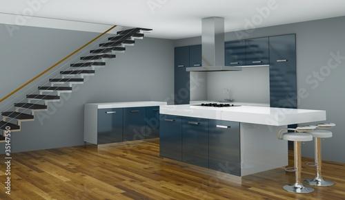 Wohndesign blaue Küche