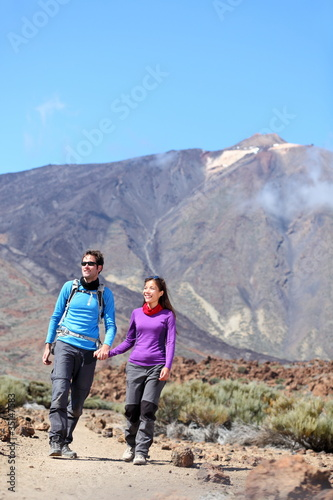 Couple hiking outdoors