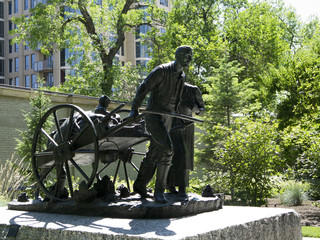 Statue to the Handcart Pioneers Salt Lake City Utah USA