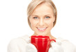 woman with red mug