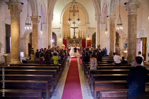 Couple getting married in a church