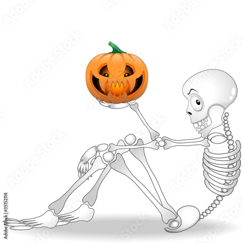 Halloween Scheletro Zucca-Cartoon Skeleton Pumpkin-2-Vector