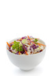 Cabbage salad with carrots, in white bowl