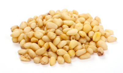 Cedar Pine nuts on a white background