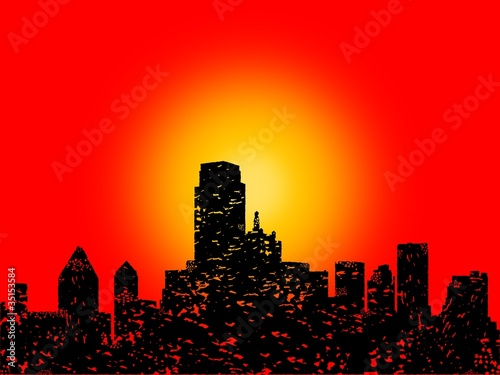 Grunge Dallas skyline with abstract sunset illustration