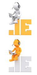 3d character sitting on .IE domain name. Isolated on white