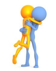 Embracing couple. 3d illustration. Isolated on white background