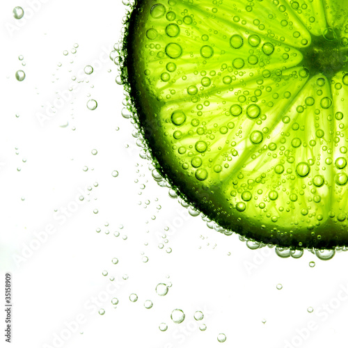lime slice in water © yellowj