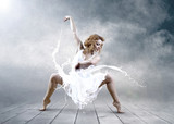 Dance of ballerina with dress of milk