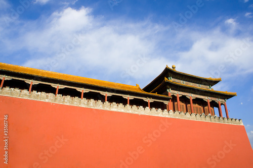 Ancient pavilion and red wall of Gate Wumen in Forbidden City