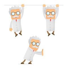funny cartoon scientist hanging