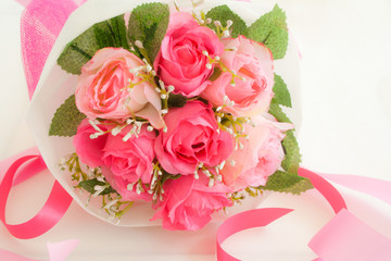artificial pink roses bouquet
