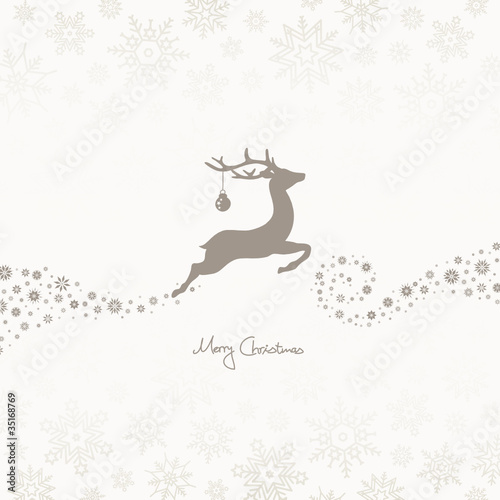 Flying Reindeer, Christmas Ball & Snowflakes Taupe