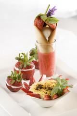 Strawberry sorbet caramel ice cream strawberry creme brulee