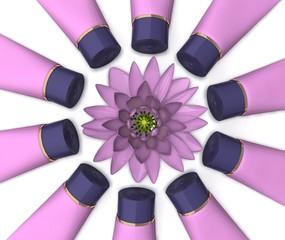 разложенные тюбики с кремом вокруг цветка