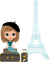 Pretty girl sits on a suitcase against Tour d'Eiffel. vector
