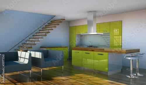 Wohndesign - grüne Küche im Loft