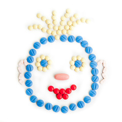 pills smiley face. Smile made of pills.