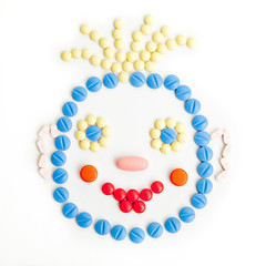 pills smiley face. Smile made of pills