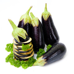 eggplants isolated on white background close up. aubergine