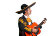 Charro mexican Mariachi playing guitar on white