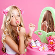 children fashion doll little girl lipstick makeup pink vanity