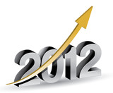 Fototapety Happy new year 2012 with rising graph