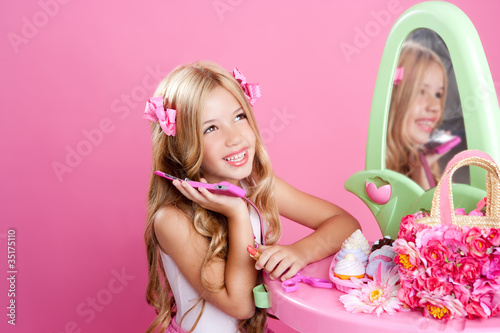 Children fashion doll blond girl talking mobile phone