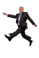 man in business suit flies