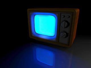 alter Fernseher leuchtet im Dunkeln