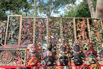 Mayan Mexico wood handcrafts in jungle