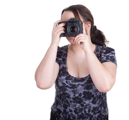 fat female photographer with professional digital camera .