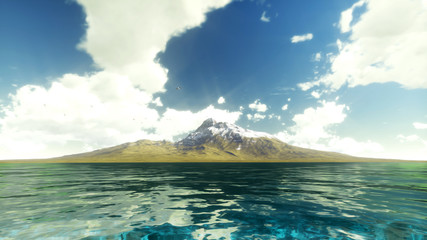 Mountain iseland in ocean