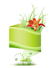 Origami green background with flowers and butterflies