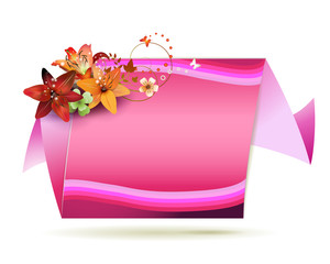 Origami pink background with flowers and butterflies