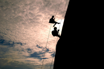 Climber in sunset