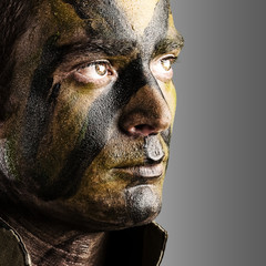 soldier face painted
