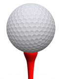 Golfball and red tee