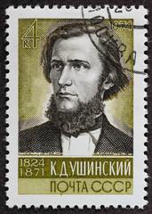 Postal stamp. Ushinskii, 1974
