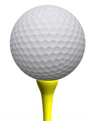 Golfball and yellow tee