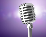 Chrome microphone on violet background