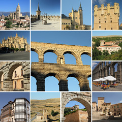 collage with landmarks of Segovia