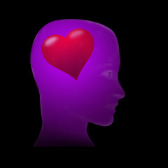 Violet head and heart